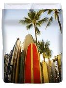 Surfboards At Waikiki Duvet Cover