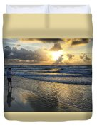 Surfcaster Sunrise Delray Beach Florida Duvet Cover