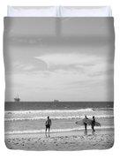 Strollin On Dog Beach Duvet Cover