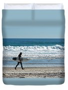 Surfer And His Board Duvet Cover