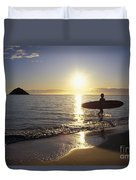Surfer At Sunrise Duvet Cover by Ali ONeal - Printscapes