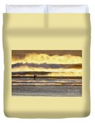 Surfer Faces Wind And Waves, Morro Bay, Ca Duvet Cover
