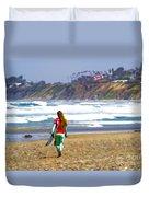 Surfer Girl At Seaside, Ca Duvet Cover
