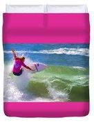Surfer Girl Taking Flight Duvet Cover