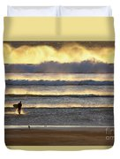 Surfer Heads Into The Waves And Mist Duvet Cover