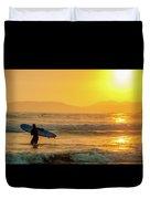 Surfer In The Golden Ocean Duvet Cover