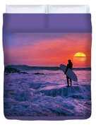 Surfer On Rock Looking Out From Blowing Rocks Preserve On Jupiter Island Duvet Cover
