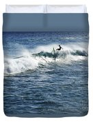 Surfer Riding A Wave Duvet Cover by Brandon Tabiolo - Printscapes