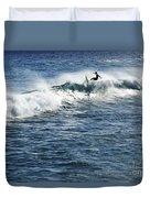 Surfer Riding A Wave Duvet Cover by Brandon Tabiolo - Printscapes