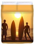 Surfer Silhouettes Duvet Cover