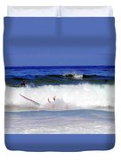 Surfers At Asilomar State Beach Three Oopsy Daisy Duvet Cover