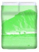 Surfers On Morro Rock Beach In Green Duvet Cover