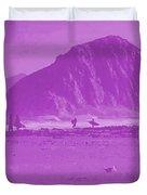 Surfers On Morro Rock Beach In Purple Duvet Cover