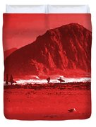 Surfers On Morro Rock Beach In Red Duvet Cover