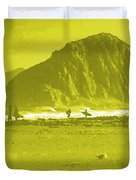 Surfers On Morro Rock Beach In Yellow Duvet Cover