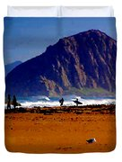 Surfers On Morro Rock Beach Duvet Cover