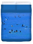 Surfers Waiting And Waiting Duvet Cover