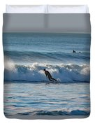 Surfing At Hampton Nh Duvet Cover