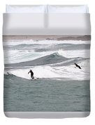 Surfing At Sennen Cove Cornwall Duvet Cover