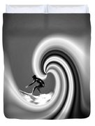 Surfing The Pacific In Black And White Duvet Cover