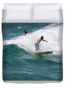 Surfing The White Wave At Huntington Beach Duvet Cover