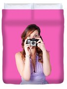 Surprised Woman Taking Picture With Old Camera Duvet Cover
