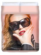 Surprised Young Woman Wearing Fashion Sunglasses Duvet Cover