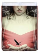 Surreal Image Of Woman With Bird Duvet Cover