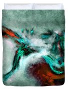 Surrealist And Abstract Painting In Orange And Turquoise Color Duvet Cover