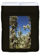 Surrounded Saguaro Cactus Wren Duvet Cover