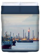 Survey And Cargo Ships Off The Coast Of Singapore Petroleum Refi Duvet Cover