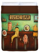 Sushi Bar Darker Tone Image Duvet Cover