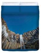 Svartifoss Waterfall, Iceland Black Duvet Cover