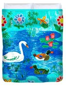 Swan And Two Ducks Duvet Cover by Sushila Burgess