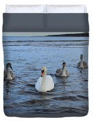 Swan Family At Sea Duvet Cover