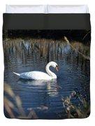 Swan In Blue Pond Duvet Cover