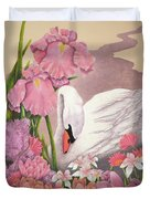 Swan In Pink Duvet Cover