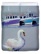 Swan Lake With Pleasure Boats Duvet Cover