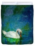 Swan On A Blue And Green Lake Duvet Cover