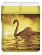 Swan On Gold Duvet Cover