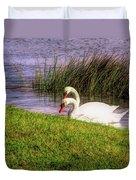 Swan Pair Warm Color Duvet Cover