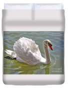 Swan Swimming By Duvet Cover