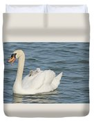 Mute Swan With Babies On Its Back Duvet Cover