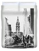 Swann Memorial Fountain In Black And White Duvet Cover