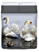 Swans And Duck Duvet Cover