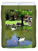 Swans And Gold Fish Duvet Cover