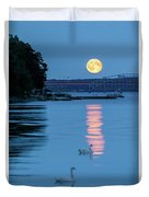Swans And The Moonrise In Stockholm Duvet Cover