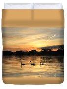 Swans At Dawn Duvet Cover