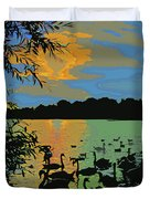 Swans At Sunset Duvet Cover