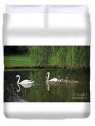 Swans At Two Months Duvet Cover